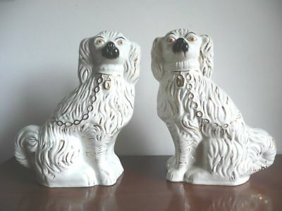 """Pair of Large Antique 13.5"""" Staffordshire Spaniels Dogs in  White. c.1860-80s."""