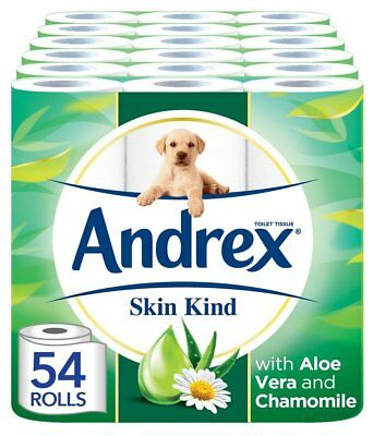 Andrex Skin Kind Toilet Roll Tissue Paper with Aloe Vera  54 Rolls Free P&P NEW
