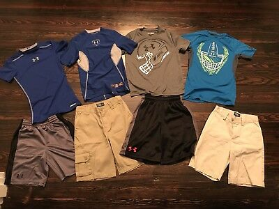 Boys Youth Size Small/ 7 Under Armour Compression Shirts & Shorts Polo Lot Of 8