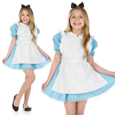 Kids Traditional Alice In Wonderland Fancy Dress Costume Girls Outfit 6-8 Yrs