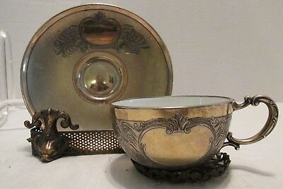 Continental 800 Silver Cup & Saucer in Presentation Box Porcelain Insert Chased