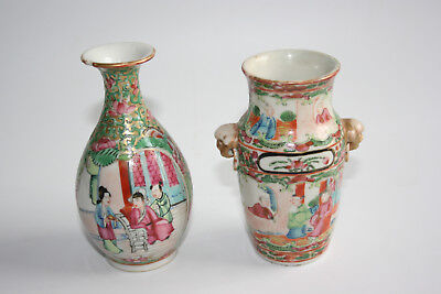 2 Pcs 19th Century Antique Chinese Porcelain Painted Small Vase