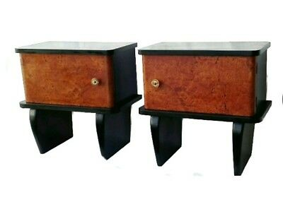 Antique Pair French Art Deco Amboyna & Ebonized wood Nightstands Bedside 1940