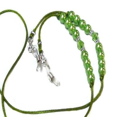 Lime Green Beaded Cord Pearl Reading Eye glasses spectacle holder lanyard