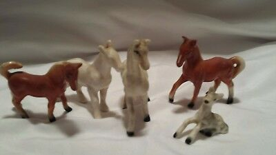 Lot of 5 Vintage Ceramic Horse Figurines Very Collectible