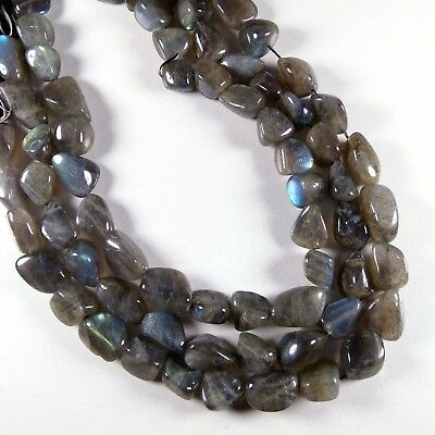 "1 Strand Natural Blue Labradorite Tumble Shape Gemstone Beads 8x17mm 13"" Long"