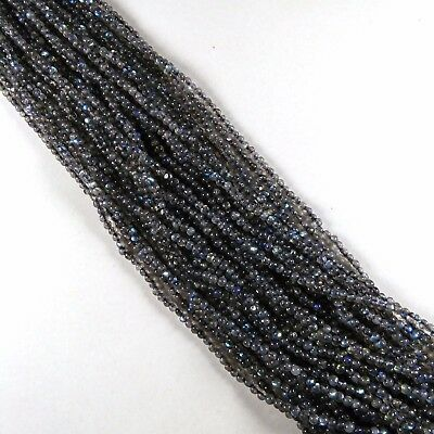 "5 Strands Natural Blue Labradorite Rondelle Smooth Gemstone Beads 3mm 12"" Long"