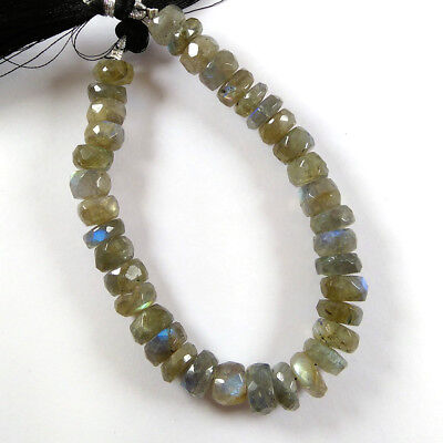 "5x8-4x8mm Natural AA Fire Labradorite Gemstone Faceted Beads 7.5"" Long Strand."