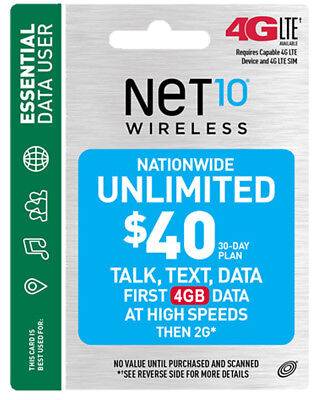 Refill Plan Net10 $ 40 Unlimited with 20% Discount