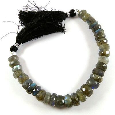 "Natural Blue Fire AAA Labradorite Gemstone Faceted Beads 8x11-6x9mm 7"" Strand."