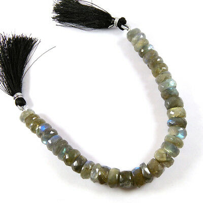 "Natural Flashy Labradorite Gemstone Faceted Tyre Beads 8x4-8x5mm 7"" Long Strand."