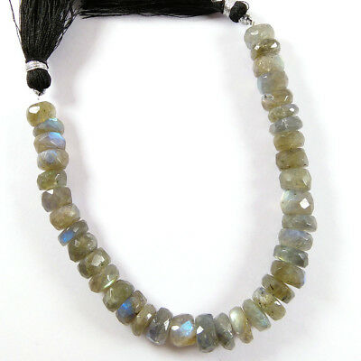 "Natural Flashy Labradorite Gemstone Faceted Tyre Beads 4x9-6x9mm 7"" Long Strand."