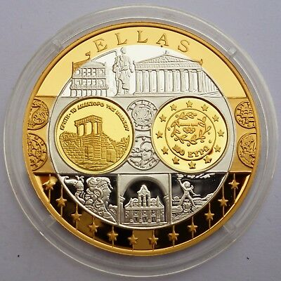 Greece 100 Euro 2003 Silver Coin Proof 999 with 24K Gold Plated Coin / Medal !