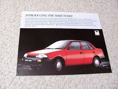 1980's MARUTI 1000 (INDIA) SALES BROCHURE...