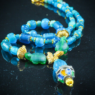 Ancient Egyptian aqua blue glass Gold Silver African Turtle Amulet Bead Necklace