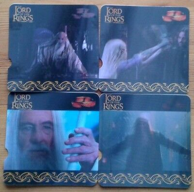 4 The Lord of The Rings Nestle Motion Viewer cards - Saruman, Gandalf LOTR