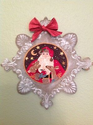 "Primitive Folk Art Punch Needle ""Woodland Santa"" On Tin Snowflake"