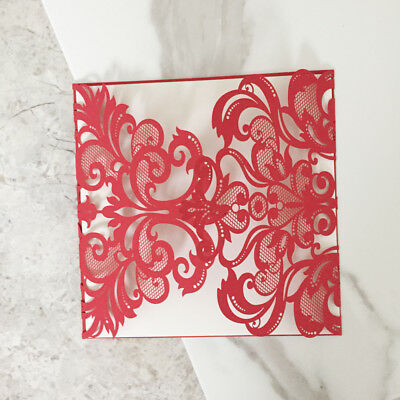 Personalised or Blank Red Laser Cut Floral Lace Wedding Invitation Card