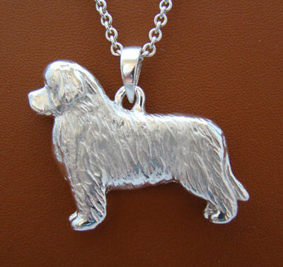 Large Sterling Silver Newfoundland Standing Study Pendant