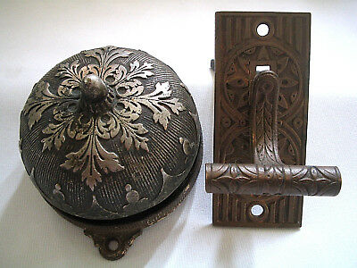 Antique Victorian Ornate Cast Iron & Brass? Mechanical Door Bell Pat 1872