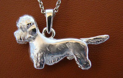 Large Sterling Silver Dandie Dinmont Terrier Standing Study Pendant