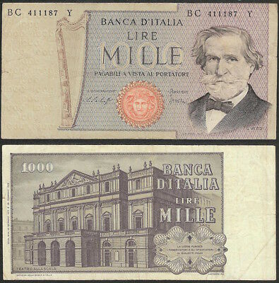 """ITALY - 1000 lire 1977 """"Verdi"""" P# 101beEurope banknote - Edelweiss Coins"""