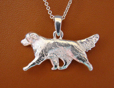 Large Sterling Silver Golden Retriever Moving Study Pendant
