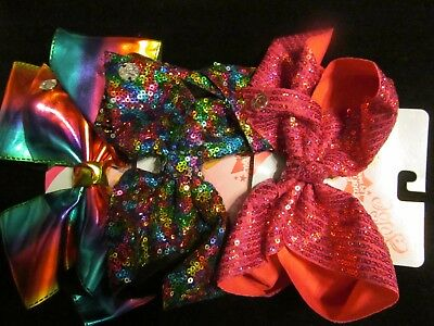 Jojo Siwa Signature Large Sequin Bows - Lot Of 3 GREAT FOR STOCKINGS NWT'S
