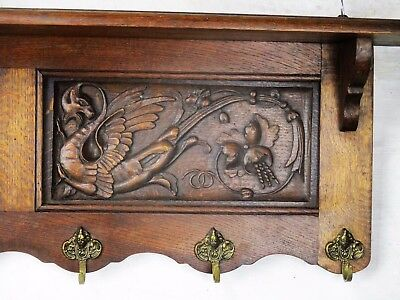 L Gothic  hand Carved Wood Wall Shelf Coat Hat Kitchen Rack Dragons Griffins