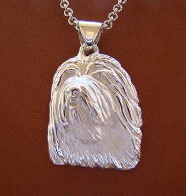 Large Sterling Silver Bearded Collie Head Study Pendant