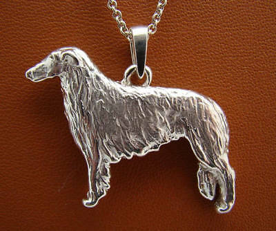 Sterling Silver Russian Wolfhound Standing Study Pendant