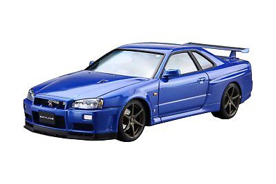 Aoshima 51597 The Model Car 08 NISSAN BNR34 Skyline GT-R V-spec II '02 1/24