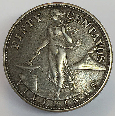 1944 S United States of America 50 Centavos Philippines Silver Coin