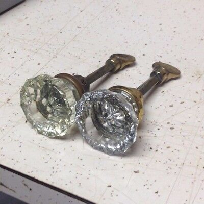 Vintage Glass Door Knobs Two Knobs On Thumb Latch