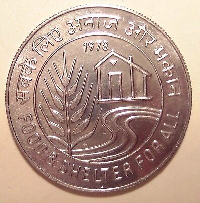 INDIEN INDIA ★★★ 10 RUPEES 1978 unc. ★★★ 477   ( FOOD & SHELTER )