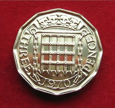 1970 England, United Kingdom Proof 3 Pence - Last Year Minted