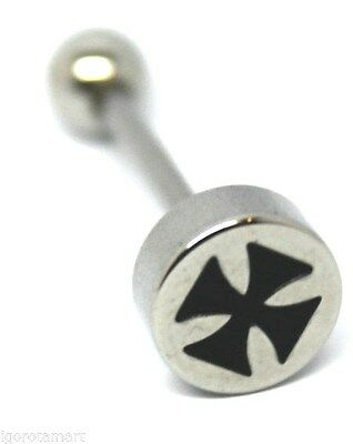 "New Roman Cross Body Jewelry Tongue Piercing Straight Bar Ring 14G 5/8"" 14mm UK"