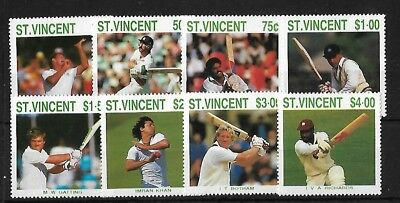 St Vincent Sg1144/51, 1988 Cricketers Set Mnh
