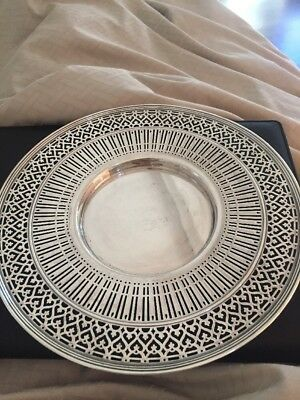 Vintage Antique Large TIFFANY & CO Sterling Silver Pierced Serving Plate Dish