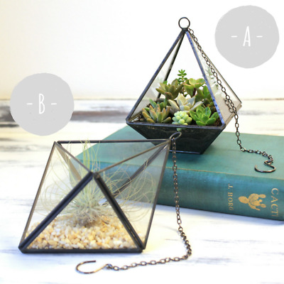 Sass and Belle Geometric Hanging Glass Terrarium / Planter / Candle Holder