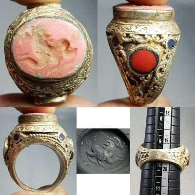 Silver Coral Ancient Intaglio Stone Wonderful Ring    # z1