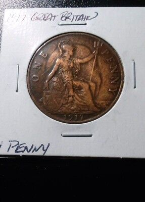 """Ghosted"" 1917 Great Britain Penny, a very nice coin for anyone!"