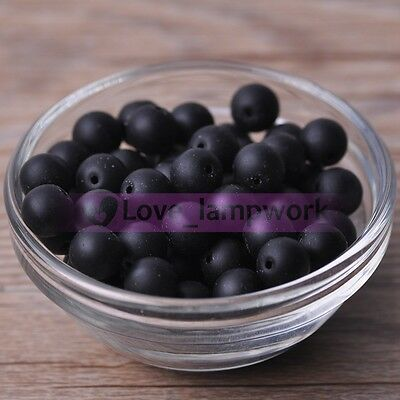 Bulk Wholesale Black Natural Stone Gemstone Round Spacer Loose Beads Lot 4~12mm