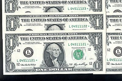 10 of 2006 US 1$ Replacement Bank Notes In Series (L04511121* - L04511130*)