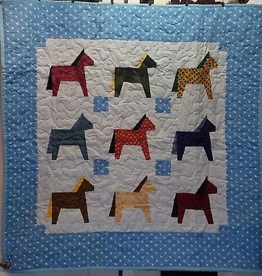 Handmade Baby Quilt of Colorful Horses, Crib Size