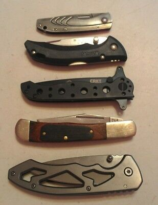 Lot of 5 various used pocket knives