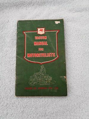 RARE Mobil Vacuum Manual For Motorcycles 1940'S VG Condition for Age