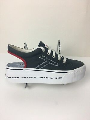 Vintage 90s TOMMY HILFIGER Chunky Platform Slip on Sneaker Sandal Shoes Laces8.5