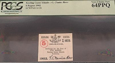 1902 Keeling Cocos Islands 5 Rupees G. Clunies Ross Pcgs 64 Ppq