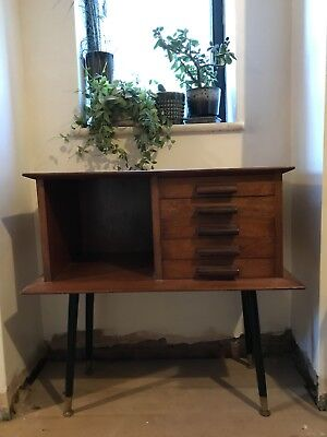 Mid Century Vintage Telephone Stand Table Sideboard With Drawers In Teak Wood